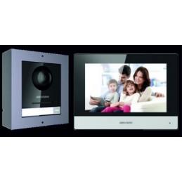 HikVision IP-video-intercomkit voor villa of huis, één belknop.